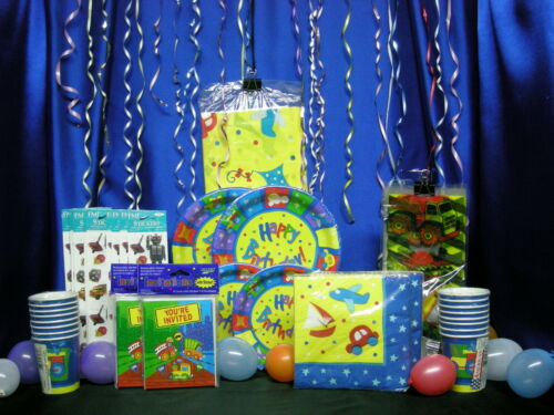 Boys Party Set # 17  Tablecloth Plates Napkins Cups Invites Stickers Loot bags