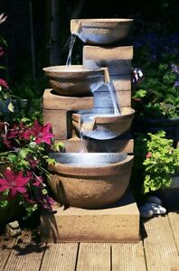 4 Tier Bowl Cascade Water Feature Fountain Natural Rock