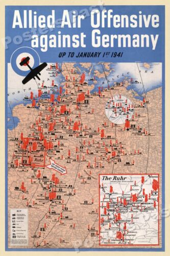 """16x24 1941 """"Allied Air Offensive against Germany"""" Vintage Style WW2 Poster"""