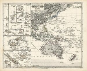 1884 Steiler Maps: Polynesia in the Pacific Ocean (two map set)