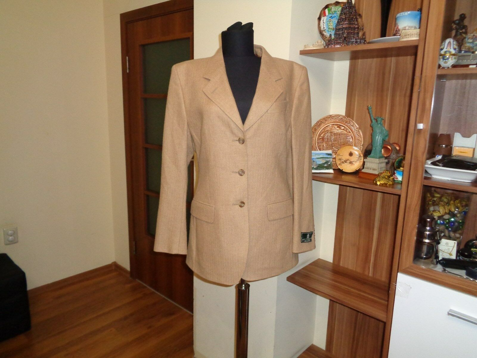 AUSTIN REED TAN CAMEL HAIR TWEED 3 BUTTON BLAZER MADE IN ENGLAND-
