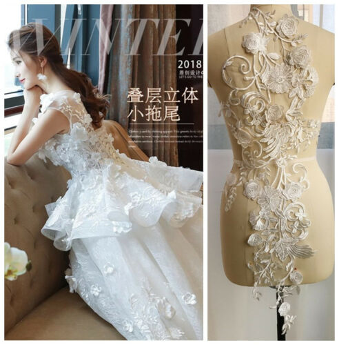 3D Floral Bridal Gown Lace Applique Embroidery Patches Trim Collar Wedding Bodic