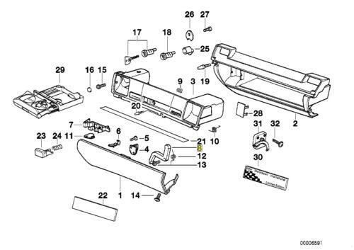 BMW E36 Glove Compartment Lid Lock Catch Release Lever 51168168863