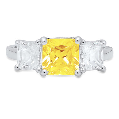 Details about  /3.25ct Emerald 3 stone Yellow Stone Promise Bridal Wedding Ring 14k White Gold