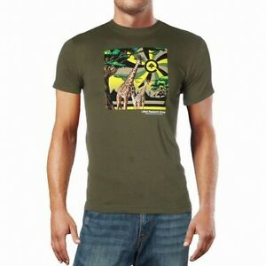 LRG-Mens-T-Shirts-Green-Size-Medium-M-Giraffe-Print-Graphic-Tee-Crewneck-288