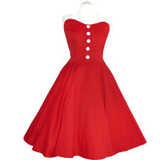 Rockabilly 50er   Kleid Petticoat Pin Up Party Baumwolle S-M-L 107  rot