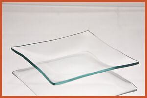 "5"" Square Clear '""BENT"" Glass Plate 1/8"""