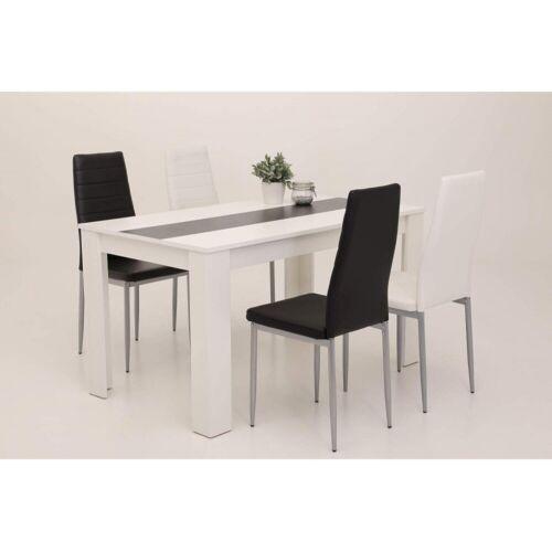 Tischgruppe SET Esstisch Küchentisch Tischgruppe HELENE Wendeplatte schwarz weiß