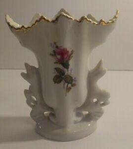 """Vintage Porcelain Bud Flower Vase Pink Floral Moss Rose 5 1/2"""" Tall"""