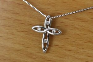 Small-Woven-Designed-Cross-with-Diamonds-and-chain-14kt-solid-White-Gold