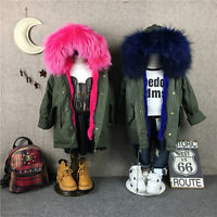 Kids Girl/boy Genuine Real Fur Hood With Real Rabbit Fur Lining Parka Coat