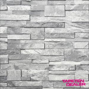 Eur 1 93 qm steintapete steinoptik tapete steinwand grau ideco a17202 ebay for Steintapete grau wohnzimmer