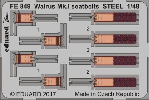 Eduard 1:48 Walrus Mk.I seatbelts STEEL  Color PE Detail Set For AIRFIX #FE849