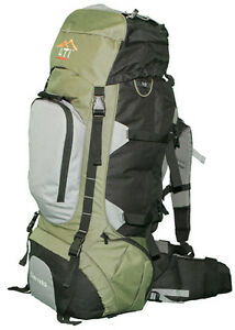 NEW-80L-Internal-Frame-Camping-Hiking-Backpack-Green-with-Rain-Fly