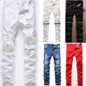 Men-039-s-Stretchy-Ripped-Skinny-Biker-Jeans-Destroyed-Zipper-Slim-Fit-Denim-Pants