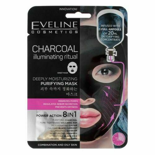 Eveline Cosmetics Korean Sheet Face Mask Serum Charcoal 20ml Purify Skin For Sale Online Ebay