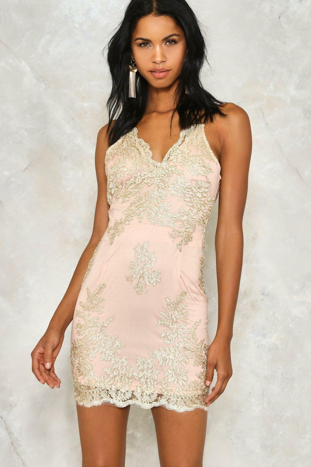 Hot to Tred Metallic Lace Dress Nasty Gal Size M
