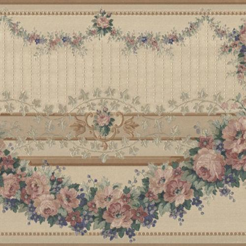 Wallpaper Border Victorian Silk Bronze Traditional Floral Garland Swag Pink Blue