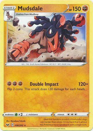 Rare Pokemon Card Mudsdale 106//202 NM Sword /& Shield Set