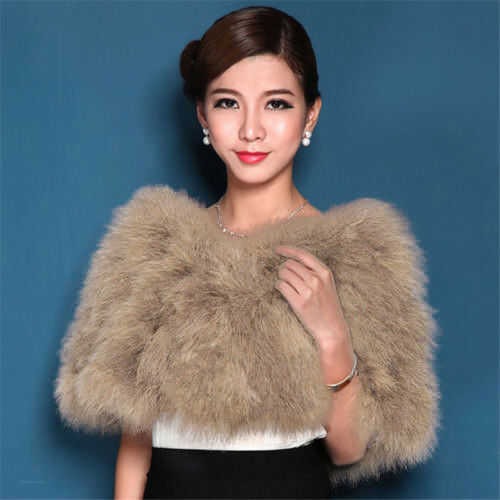White Ostrich Feather Wedding Bridal Shawl Fluffy Shrug Poncho Fashion Trendy