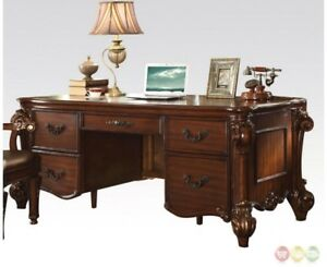 Details about Vendome Traditional Ornate 5-Drawer Executive Desk In Cherry  Finish