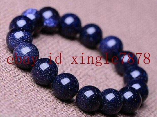 "Pretty 6//8//10//12//14mm bleu sable RONDE pierres précieuses perles Stretch Bracelet 7.5/"" AAA"