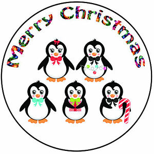 Details About Christmas Cake Topper Penguins Easy Precut Round 8 20cm Icing Decoration