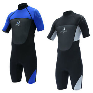 Legacy-3-2mm-Mens-Shorty-Wetsuit-Surf-Shortie-Swim-Long-Wet-Suit-Short-S-XXL