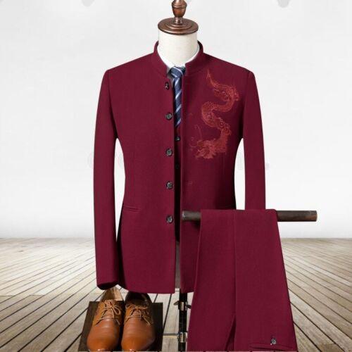 formal para Vestido 3xl chino Traje Moda Pantalón M hombre Bordado Dragón Abrigo AUxqgRq