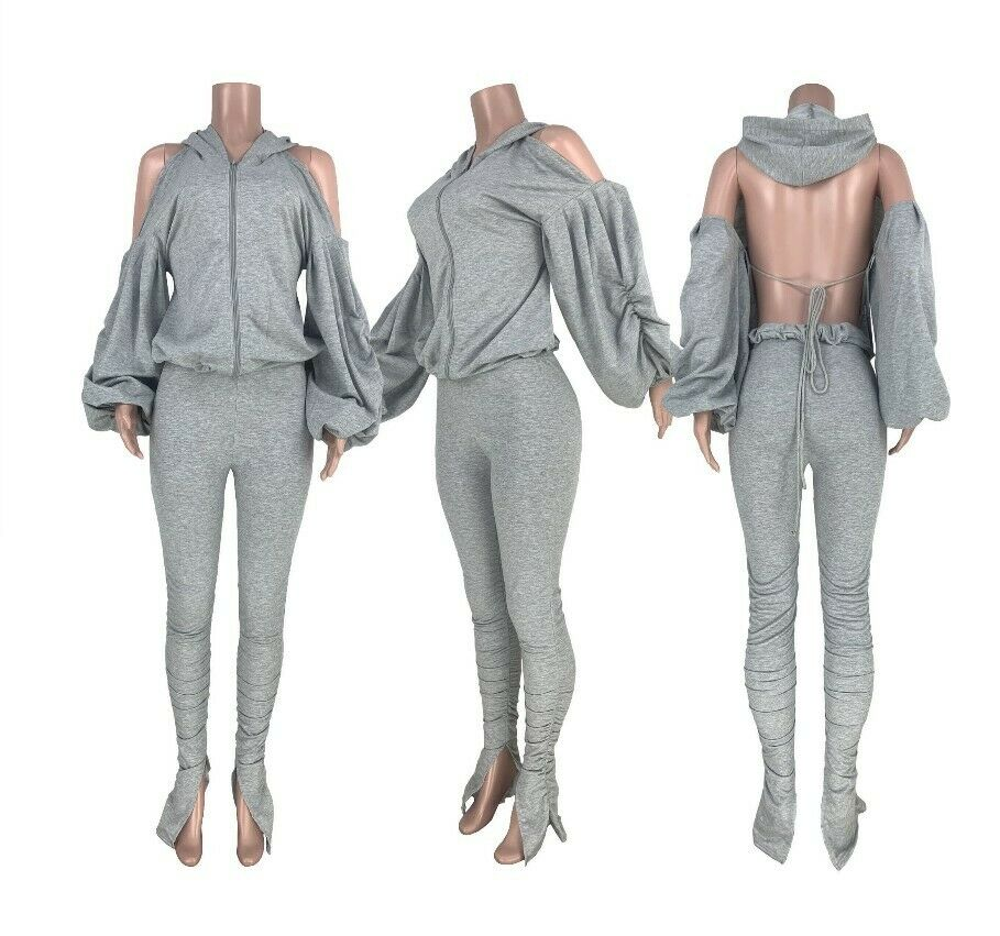 Women Set Open Back Hooded Ruff Sleeve Tops Stacked Slit Pants Tracksuit Outfit