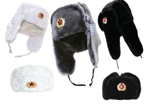 UNISEX USHANKA TRAPPER FAUX FUR EAR FLAPS RUSSIAN WINDPROOF WARMTH WINTER HAT