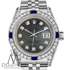 Rolex 36mm Datejust StainlessSteel Black MOP Dial with Sapphire & Diamonds Bezel
