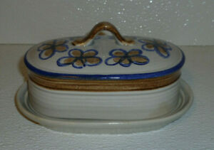Metlox-Butter-Dish-BANDERO-Covered-Vtg-1979-Blue-Band-Poppytrail
