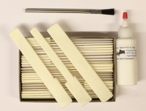 "Piano Keytops Set//52 Simulated Satin Ivory Short Head 1-15//16/"" w//2oz PVC-E Glue"