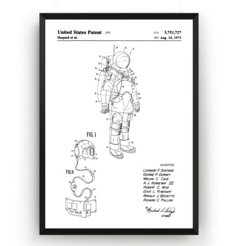 Unframed Apollo Space Suit Patent Print Vintage Poster Wall Art NASA Gift