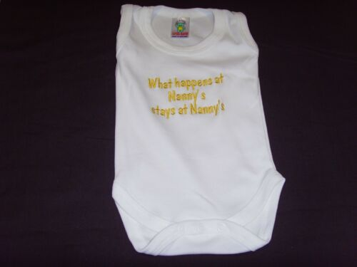 Funny Embroidered Personalised Vest Baby Shower Gift What happens at nannys stay