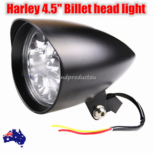 Black-billet-head-light-Harley-sportster-softail-chopper-bobber-dyna-dot-alloy