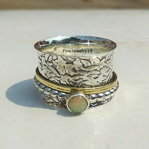 Opal-Ring-925-Sterling-Silver-Spinner-Ring-Meditation-Statement-Jewelry-A126