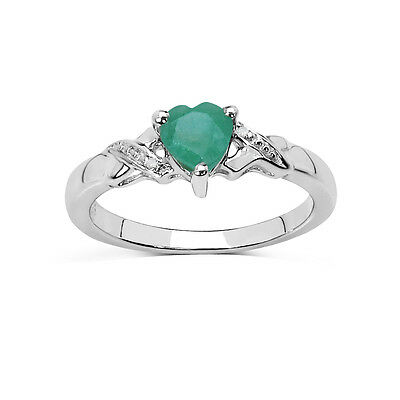 STERLING SILVER SMALL EMERALD HEART /& DIAMOND ENGAGEMENT RING SIZE LOKJRS