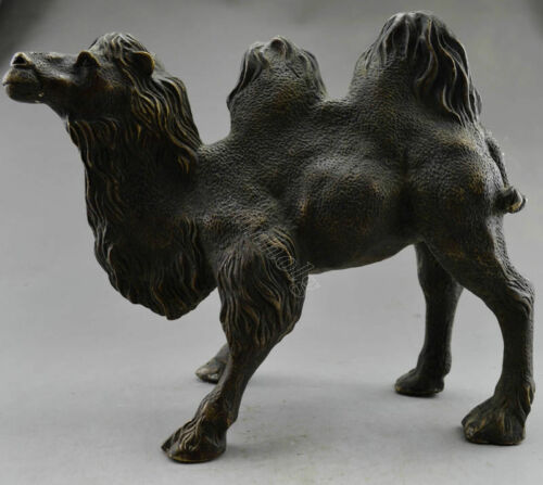 Vintage Old Handwork Red Copper Carved Big Camel Statue Collectible