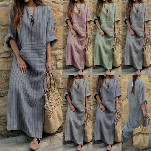 be230e04edd75f Das Bild wird geladen Damen-Lose-Baggy-Leinenkleid-Kaftan-Kleid-Vintage -Baumwolle-