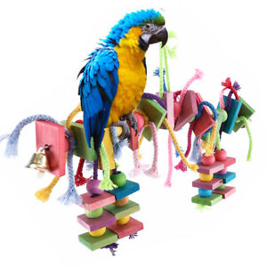 Large-Parrot-Pet-Bird-Toys-Perch-Budgie-Cockatiel-Chew-Hanging-Wooden-Swing-Cage