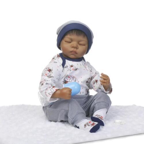 22/'/' Handmade African American Doll Silicone Vinyl Reborn Newborn Black Doll Toy