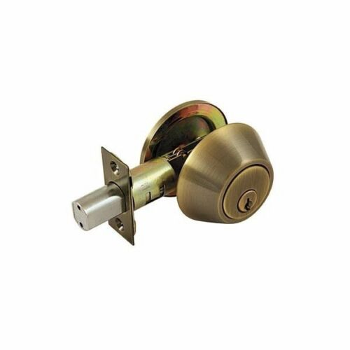 World and Main 20530723 Single Cylinder Deadbolt Lock Keyed Alike Antique Brass