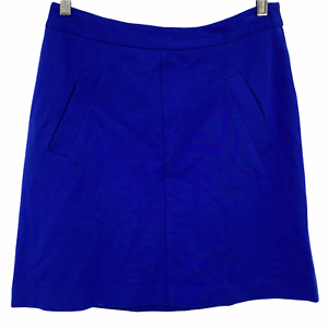 """Mario Serrani Italy Women's Casual Solid Blue Skirt Back Zip A-line Size 10"""""""