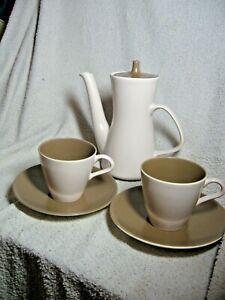 Poole-Pottery-Mushroom-amp-Sepia-PART-Set-Twintone-2-CUPS-SAUCERS-amp-COFFEE-POT