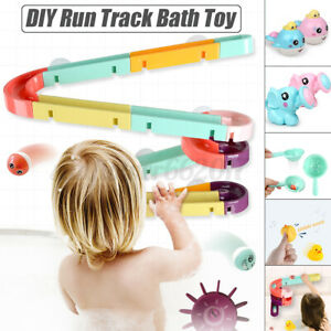 DIY Race Track Suction Cup Baby Bath Toys Kids Watering Spray Tools Showe