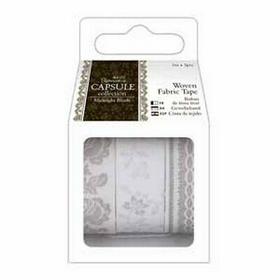 Papermania 1m Fabric Tape (3pcs) - Capsule Collection - Midnight Blush