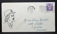 US Hand Drawn Sexy Patriotic Cover Norfolk 1943 3c Win the War Brief (I-7358
