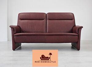 Designer Sofa Bordeaux Rot Couch Leder Dreisitzer Modern Echtleder ...